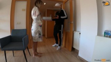 Spanish pizza guy gets surprise bj and fuck from tattooed blond girl