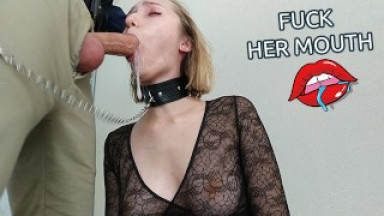 Manager orders escort blonde to fuck her mouth hard