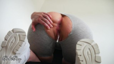 Step Sister Begs Me To Fuck Her Tight Pussy in Her Ripped Yoga Pants With Dripping Creampie