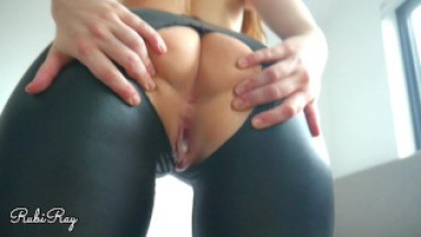 Cowgirl and Doggy Fuck with Creampie Finish in Ripped Leather Pants