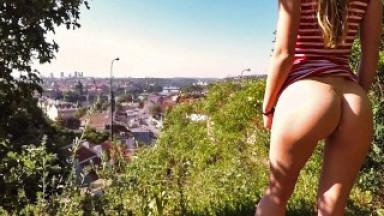 Very risky public quickie with my amateur girlfriend in Prague - Cocopumpum