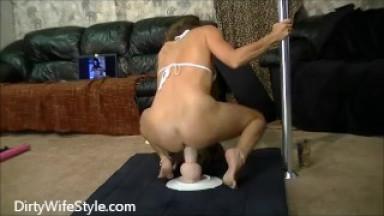 Sexy brunette wife rides big fat dildo