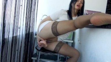 While my husband at work, I fuck my cunt with a big dildo