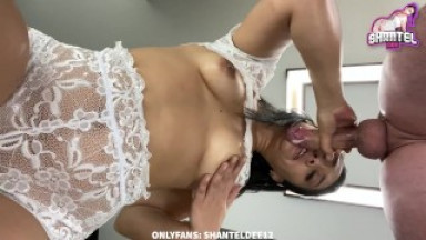 Sloppy Deepthroat! Under View Blowjob Rubbing My Tits Covered In Saliva and Cum On Tits! Shantel Dee