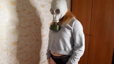 Fucked in a Gas Mask after work (Pegging)