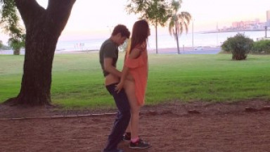 Romantic and passionate meeting in the park