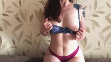 Striptease and sex with a Russian wife in sexy lingerie