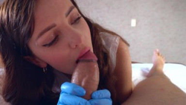 Girl in gloves gives a hot blowjob and gets cum in her mouth/ 4k