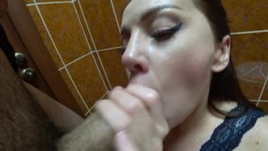 Blowjob with ending in staff restroom