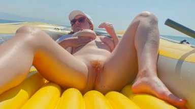 Red Hairy Pussy Risky Public Masturbation in Boat Solo Big Tits Ginger Teen
