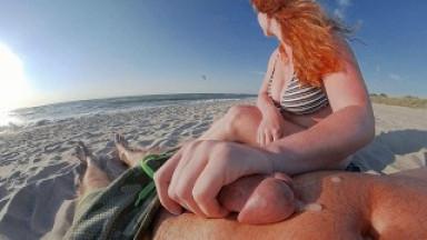 SURFERS APPROACHING RUINED HIS ORGASM! Interrupted Risky Public Beach Handjob Cum - Ginger Ale MILF
