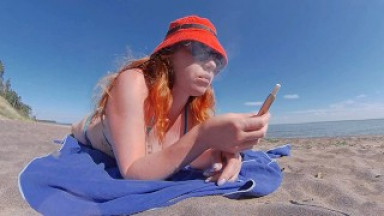 Ginger Redhead Milf Smoking Iqos Cigarette in Swimsuit on the Beach