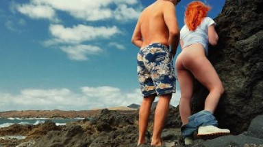 Risky Ginger Redhead Standing Fuck Creampie in Public by the Ocean Beach