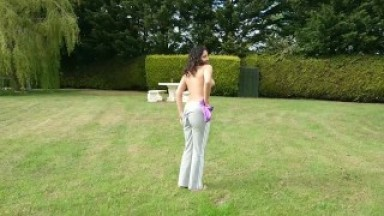 British girl has risky outdoor sex in public park and gets creampie