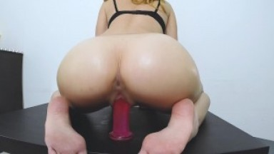 Hot Female gets Orgasm! riding dildo and Body in Oil (and Pussy and ass)