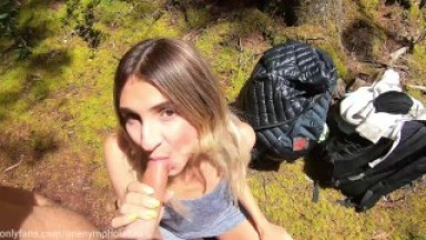 Nympho Teen DEEPTHROATS me in the forest, gets fucked DOGGYSTYLE and gets FACIAL as REWARD Short