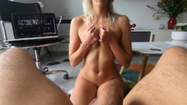 TRIPLE CUM in THROAT for college GIRL, she DEEPTHROATS like a champion for 10mins non stop (Short)