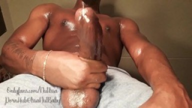 IssaNut TALKS DIRTY 2 u while stroking FAT BLACK COCK until he cums so FUCKING HARD!!!