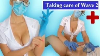 Sick Patient can't resist my oily Gloved Handjob: 1Cumshot Version