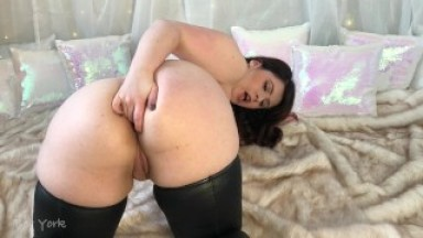 Preview of Fingering Asshole in Shiny Thigh Highs